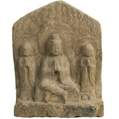 20th Century Chinese Carved Stone Buddha Tablet