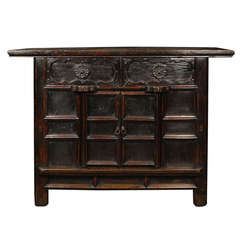 Early 20th Century Chinese Provincial Carved Chest with Two Doors and Two Drawers