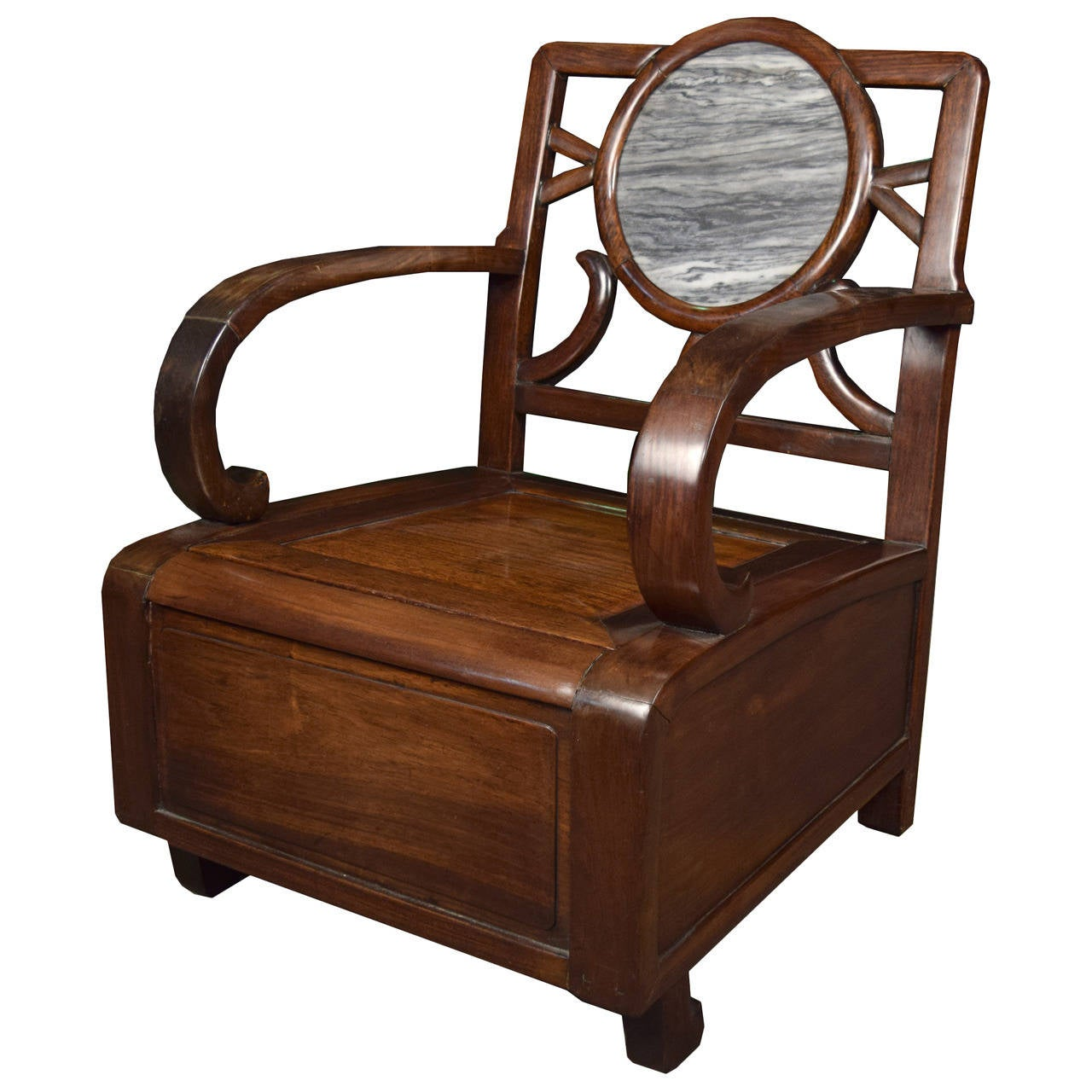 Chinese Deco Meditation Chair With Stone Medallion 1