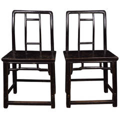 Pair of 19th Century Chinese Black Lacquer Side Chairs