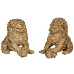 Pair of 19th Century Chinese Gilt Iron Fu Dogs