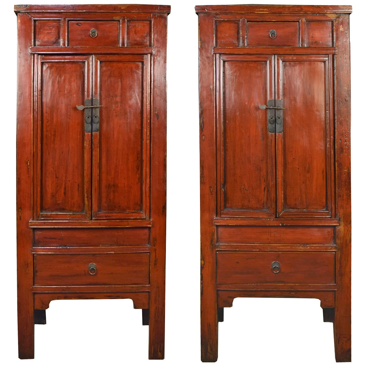 Pair Of 19th Century Chinese Red Lacquer Cabinets For Sale At 1stdibs