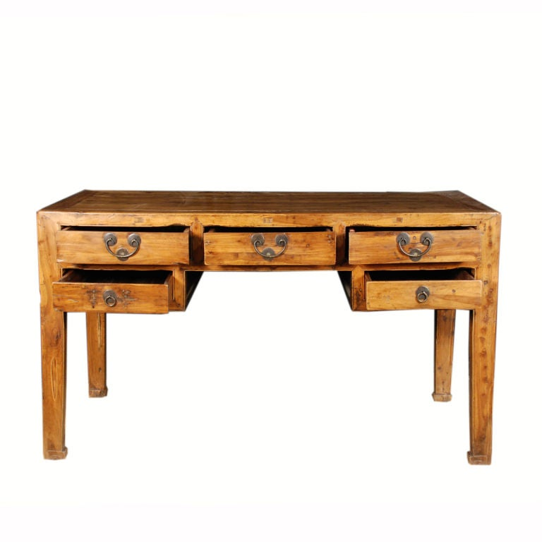 chinese writing table Antique chinese writing desk~fold down writing area w/ storage drawers~brass fix.