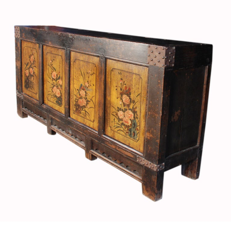 19th Century Mongolian Folk Painted Coffer image 3