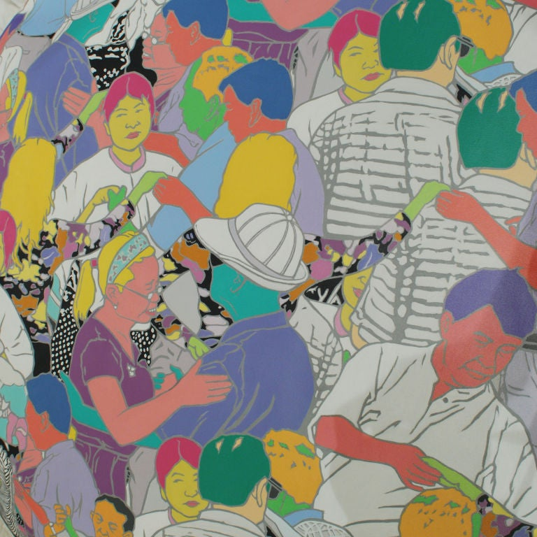 Inspired by the vibrant culture of China's public parks where people have gathered for years to socialize, exercise, practice tai chi, play badminton, ping pong and dance, Beijing artist Cui Qiang depicts these daily moments through his painted