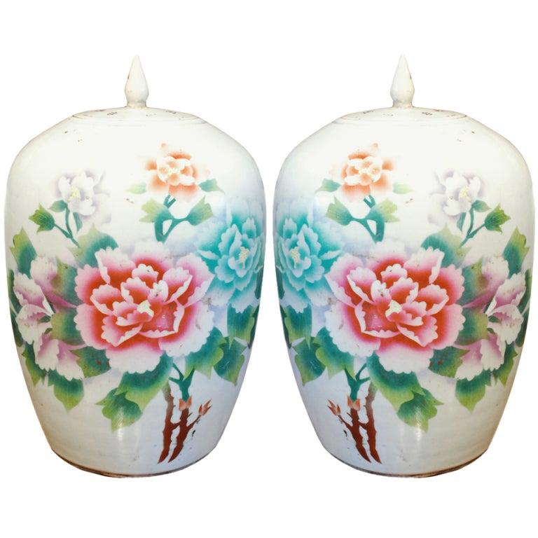 Pair Of Chinese Art Deco Ginger Jars At 1stdibs