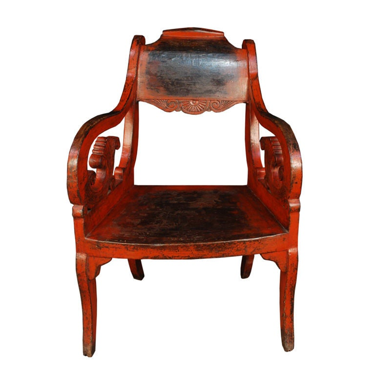 Early 20th Century Red Lacquered Chair At 1stdibs