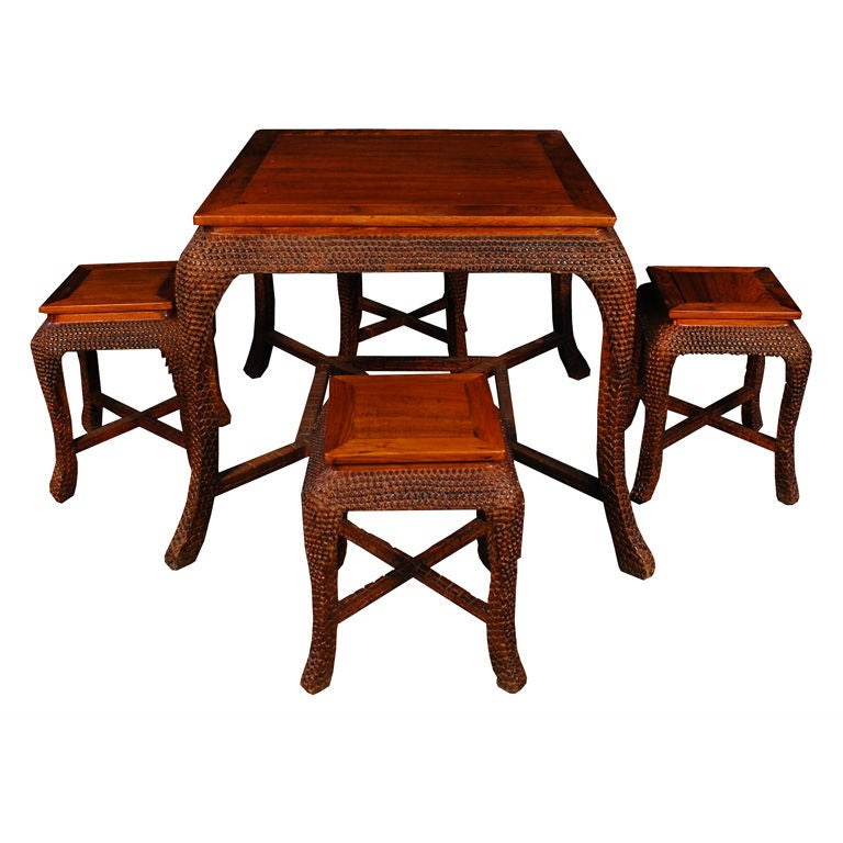 20th Century Chinese Reptilian Tea Table And Stools For