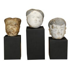 Set of Three Chinese Tomb Relic Heads