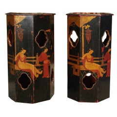 Pair of Early 20th Century Lacquered Hat Stands