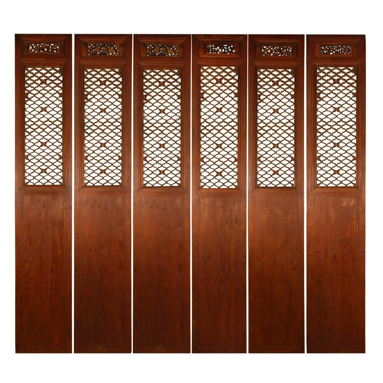 Set of Six 19th Century Chinese Courtyard Lattice Panels