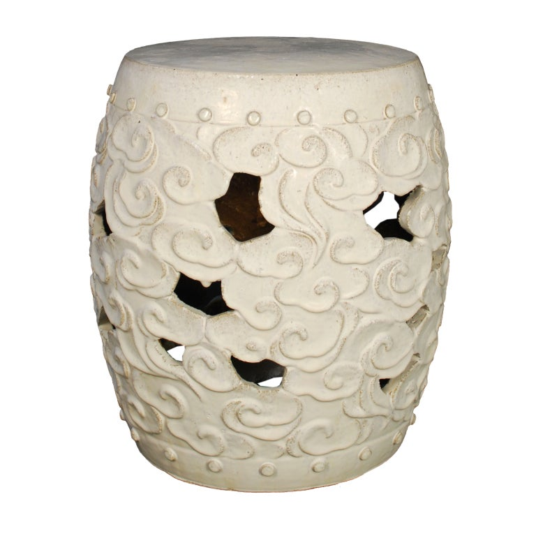 White Glazed Cloud Motif Drum Form Garden Stool image 2