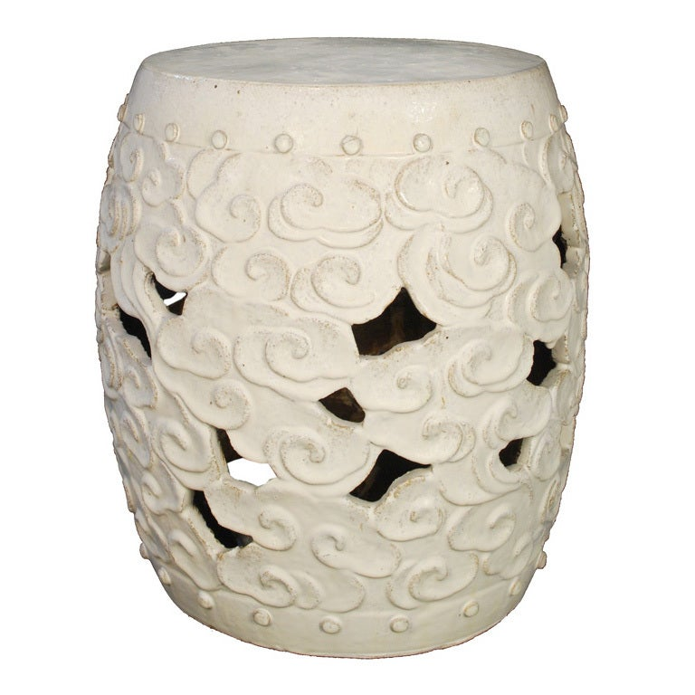 White Glazed Cloud Motif Drum Form Garden Stool