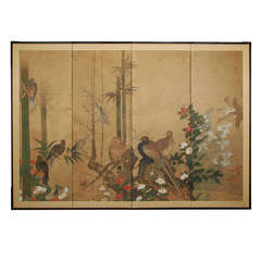 Early 17th Century Japanese Rinpa School Screen with Birds and Flowers