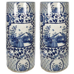 Chinese Blue and White Umbrella Containers