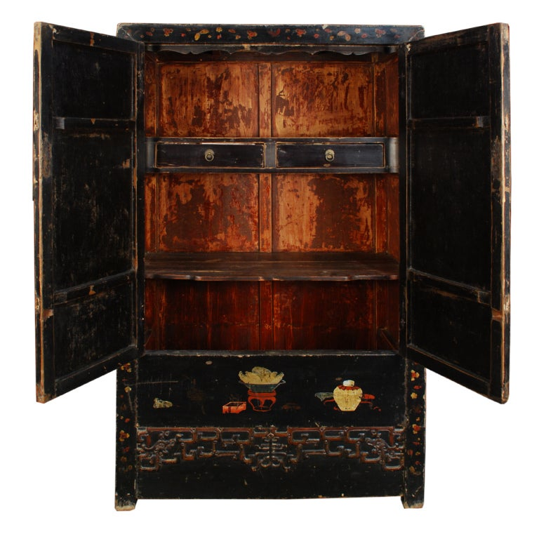 19th Century Chinese Painted Black Lacquer Cabinet At 1stdibs