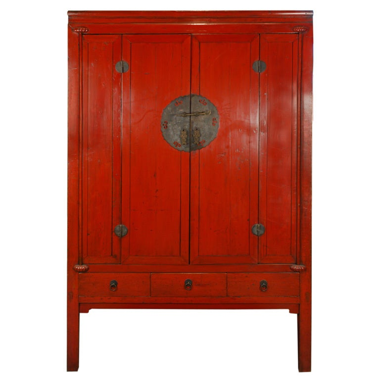 19th Century Chinese Red Lacquer Cabinet At 1stdibs