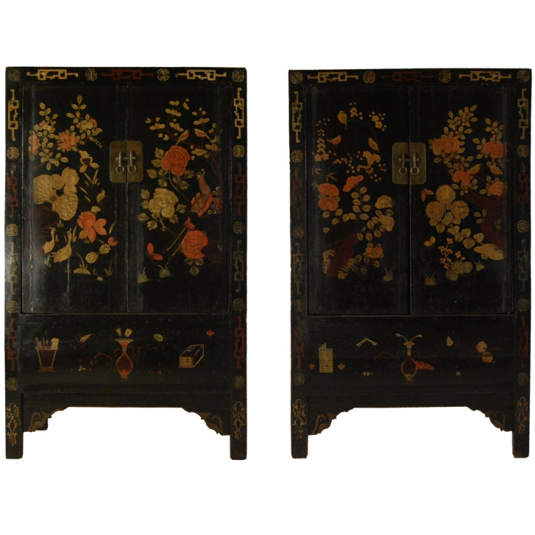 Pair Of 19th Century Chinese Black Lacquer Cabinet With