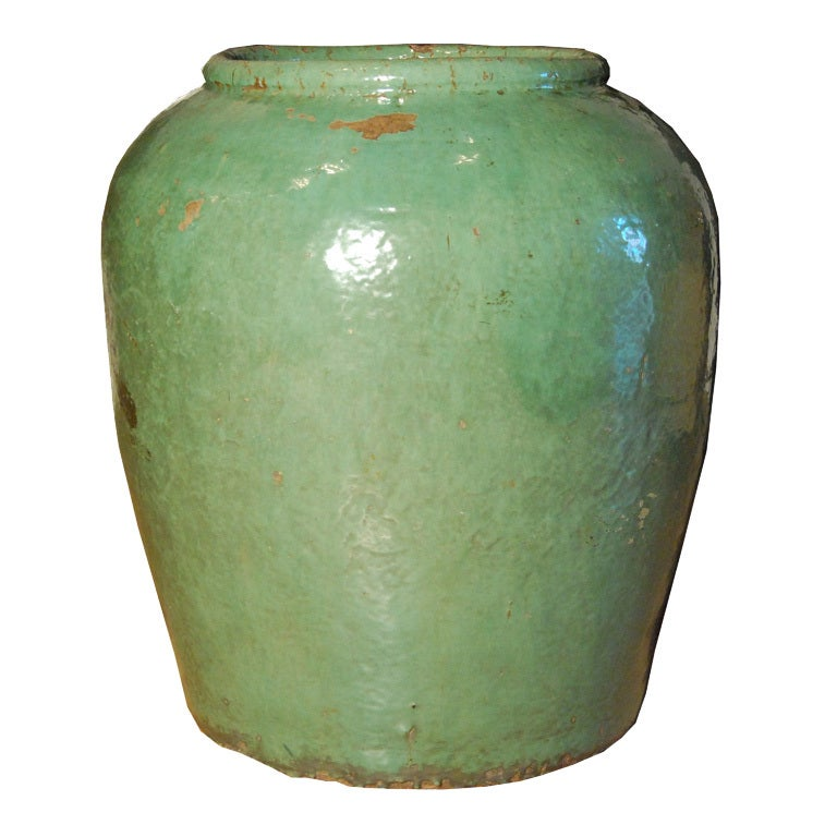 19th Century Chinese Celadon Glazed Urn For Sale