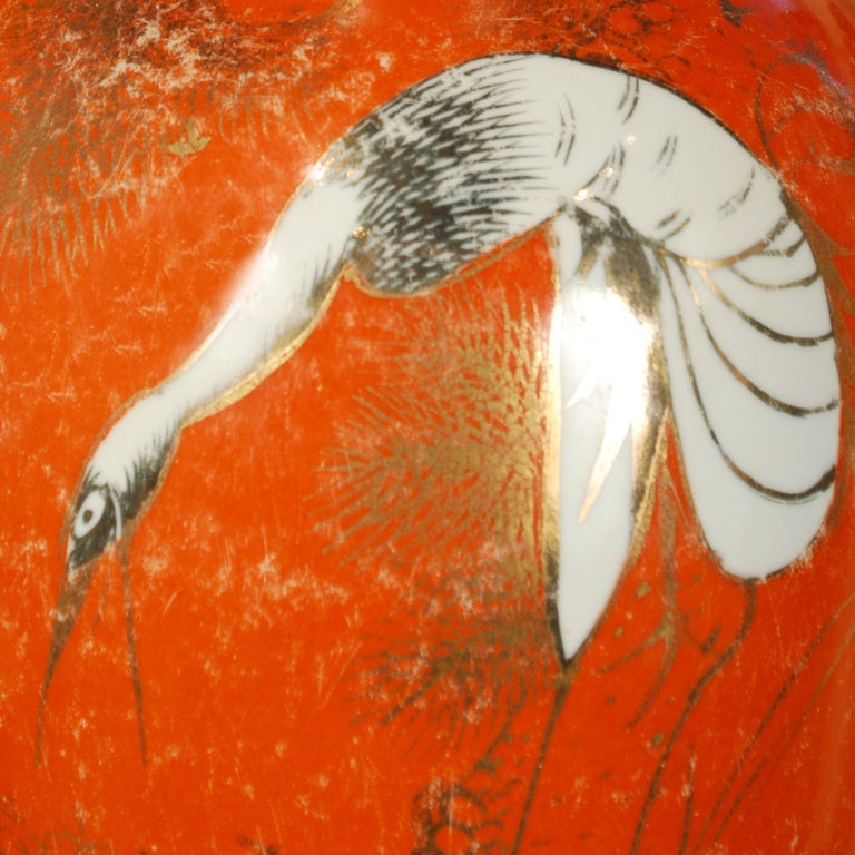 Pair of Persimmon Glazed Phoenix Tail Vases image 2
