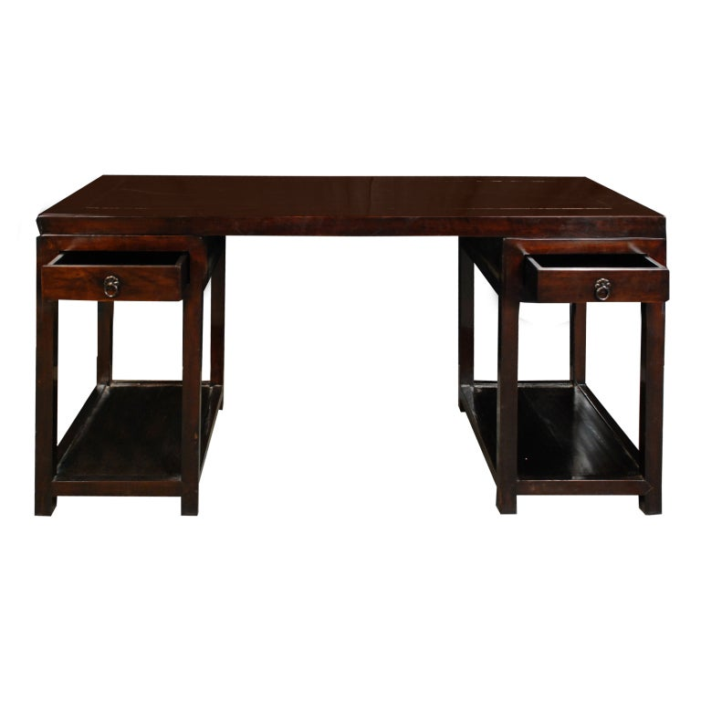 19th Century Chinese Pedestal Desk 2