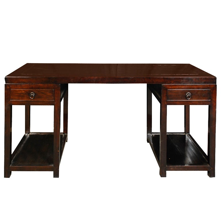 19th Century Chinese Pedestal Desk 1