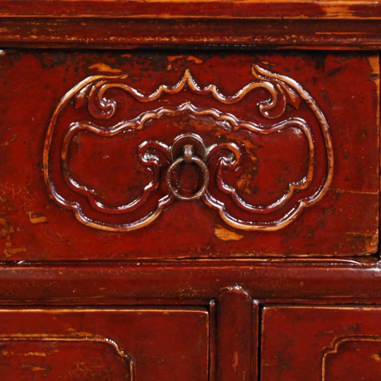19th Century Chinese Red Lacquered Chest of Drawers image 4