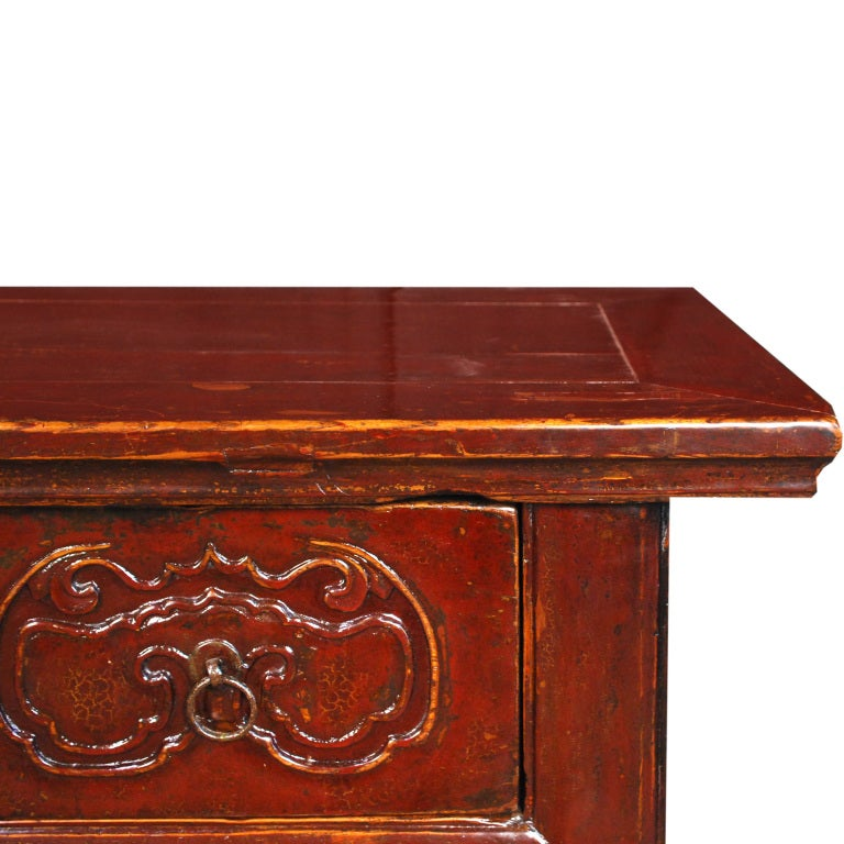 19th Century Chinese Red Lacquered Chest of Drawers image 5