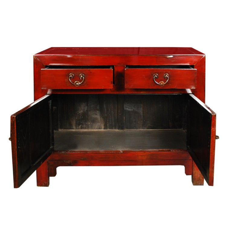 19th Century Chinese Red Lacquered Chest 2