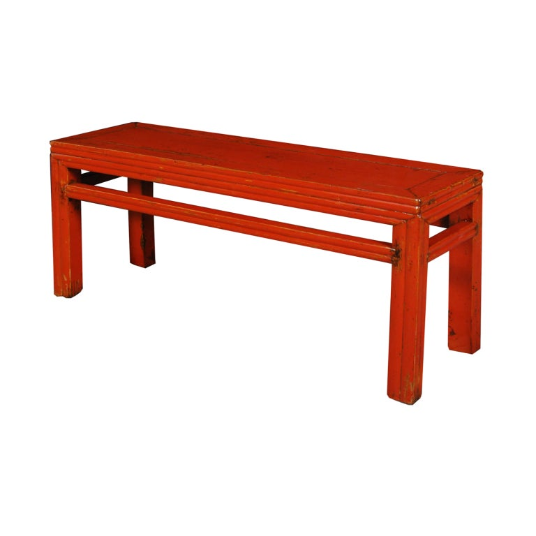 19th Century Chinese Red Lacquered Bench At 1stdibs
