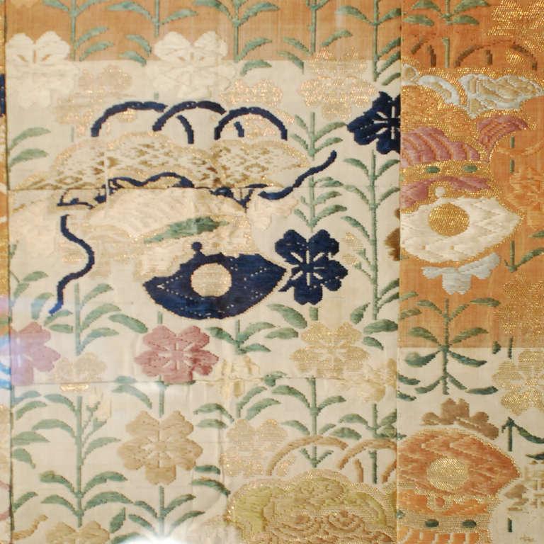 Framed 19th Century Japanese Silk Embroidered Kesa At 1stdibs