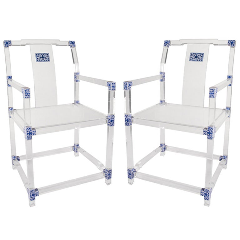 pair of blue and white lucite chairs by july zhou at 1stdibs. Black Bedroom Furniture Sets. Home Design Ideas