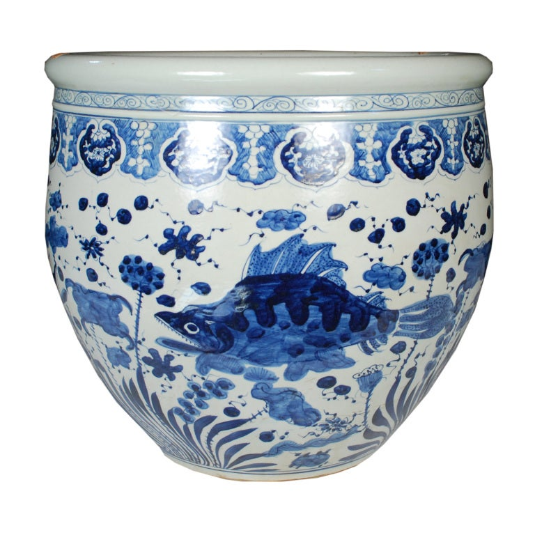 Early 20th century chinese blue and white fish bowl at 1stdibs for Chinese fish bowl