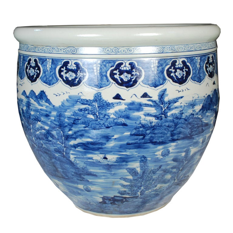 Chinese Blue And White Fish Bowl For Sale At 1stdibs