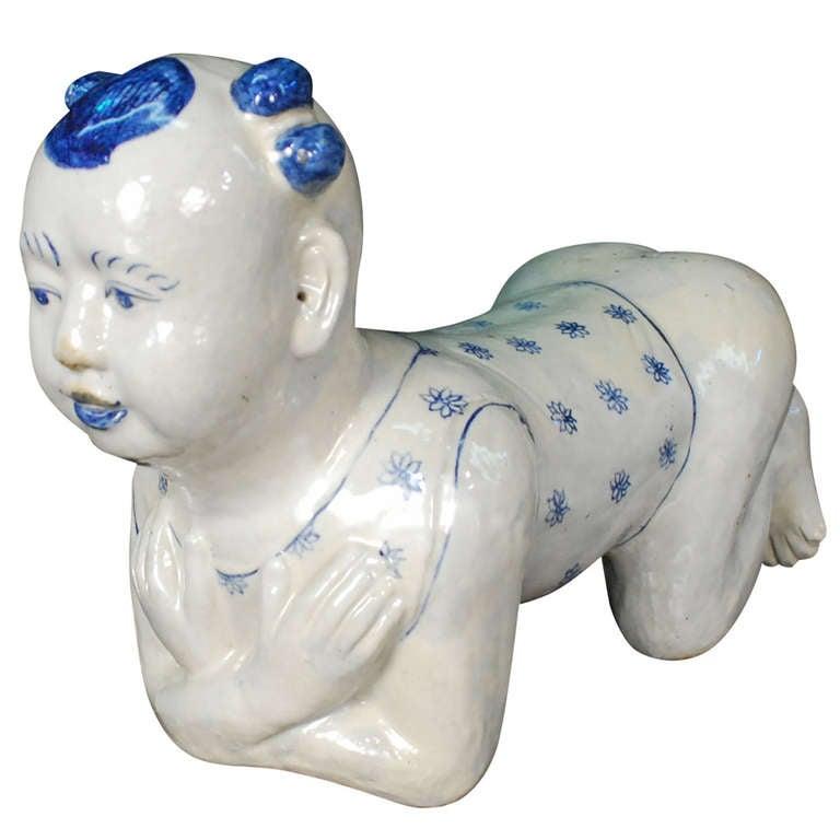 1930 S Chinese Ceramic Ho Ho Boy Pillow At 1stdibs