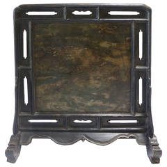 18th Century Chinese Black Lacquer Table Screen