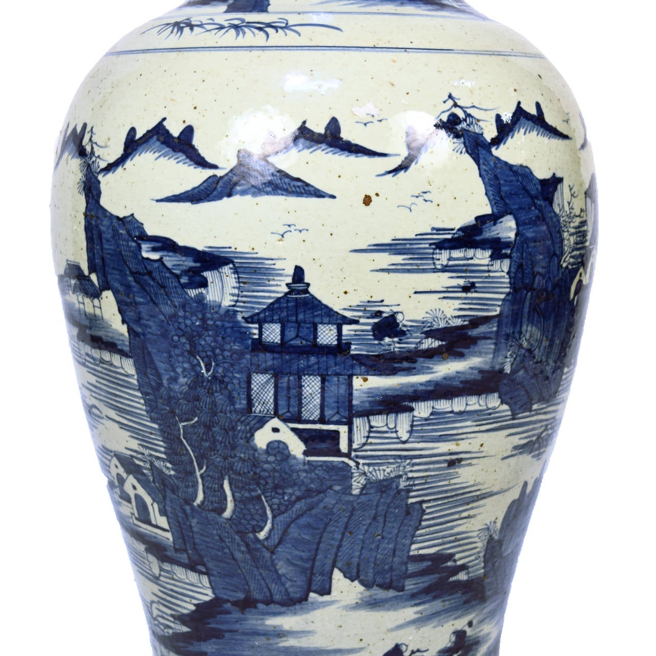 Early 20th Century Chinese Blue and White Shan Shui Vase 3