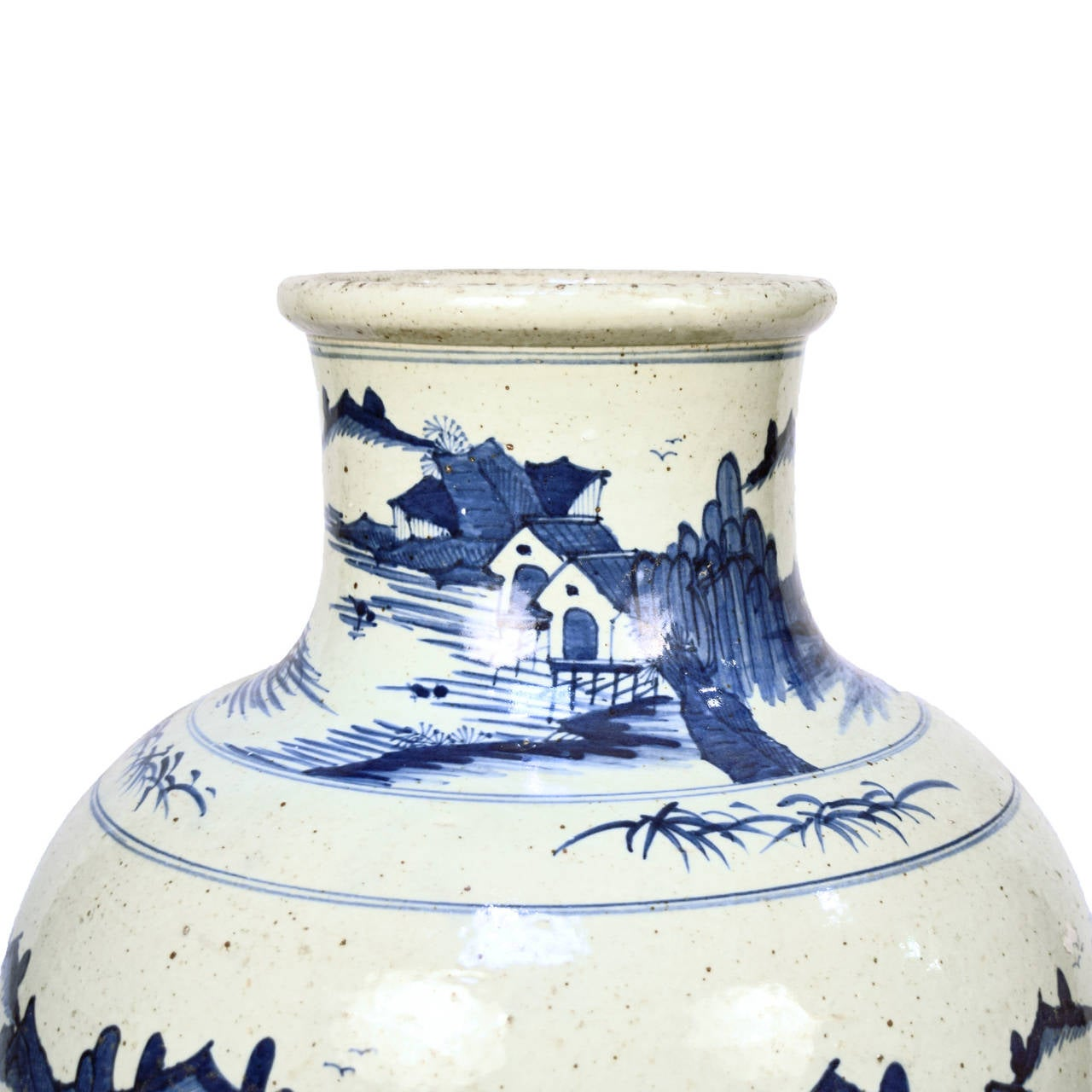 Early 20th Century Chinese Blue and White Shan Shui Vase 4