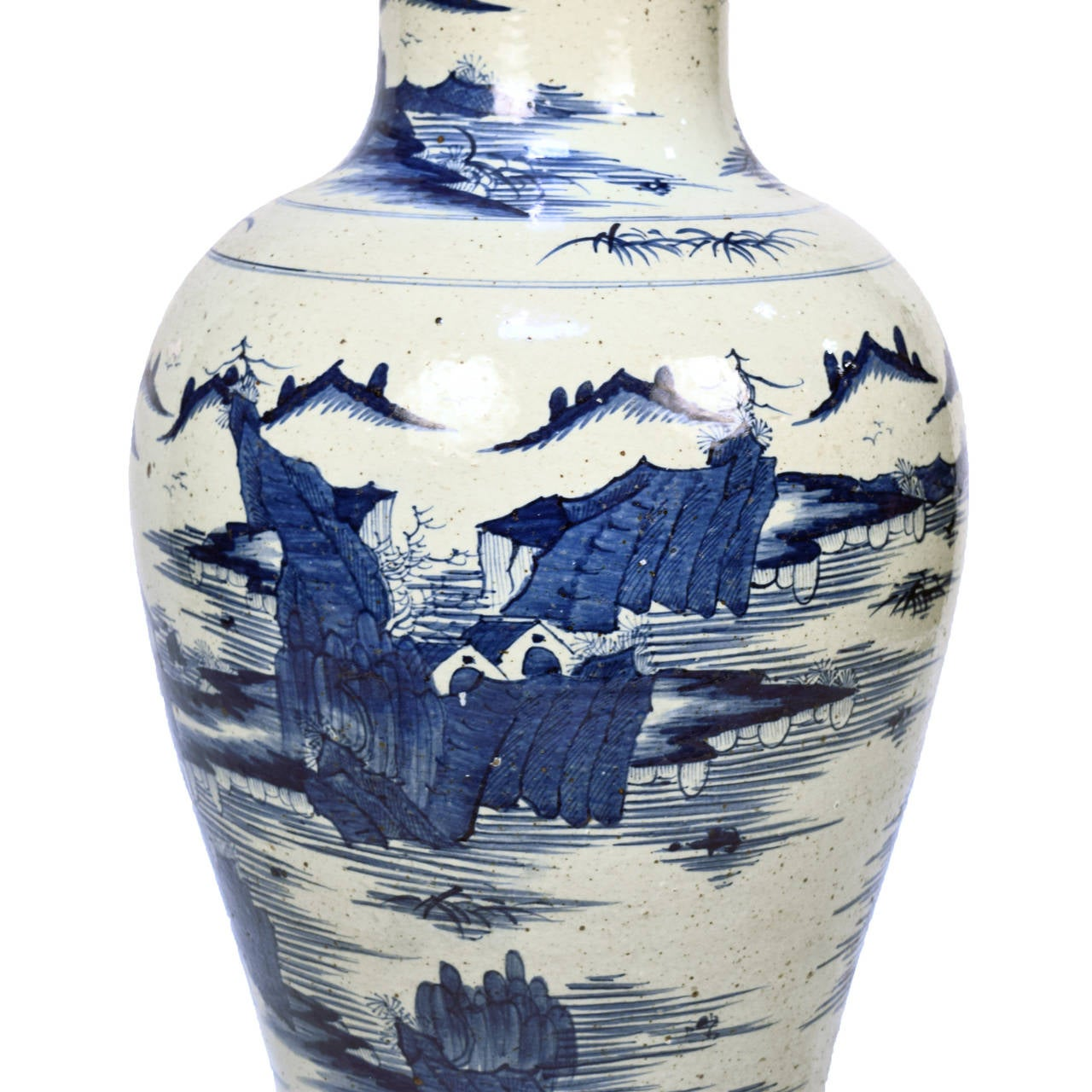 Early 20th Century Chinese Blue and White Shan Shui Vase 5