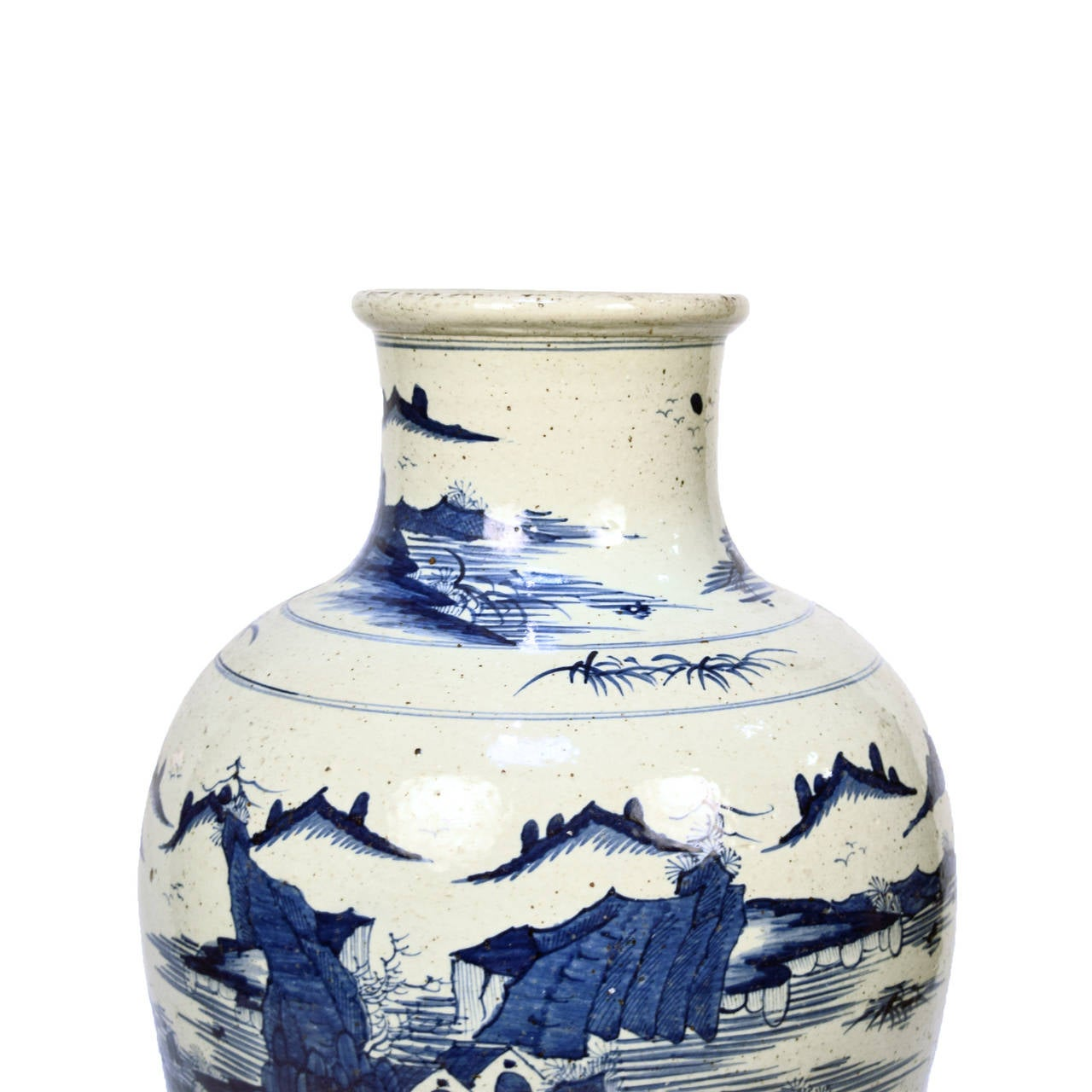 Early 20th Century Chinese Blue and White Shan Shui Vase 6