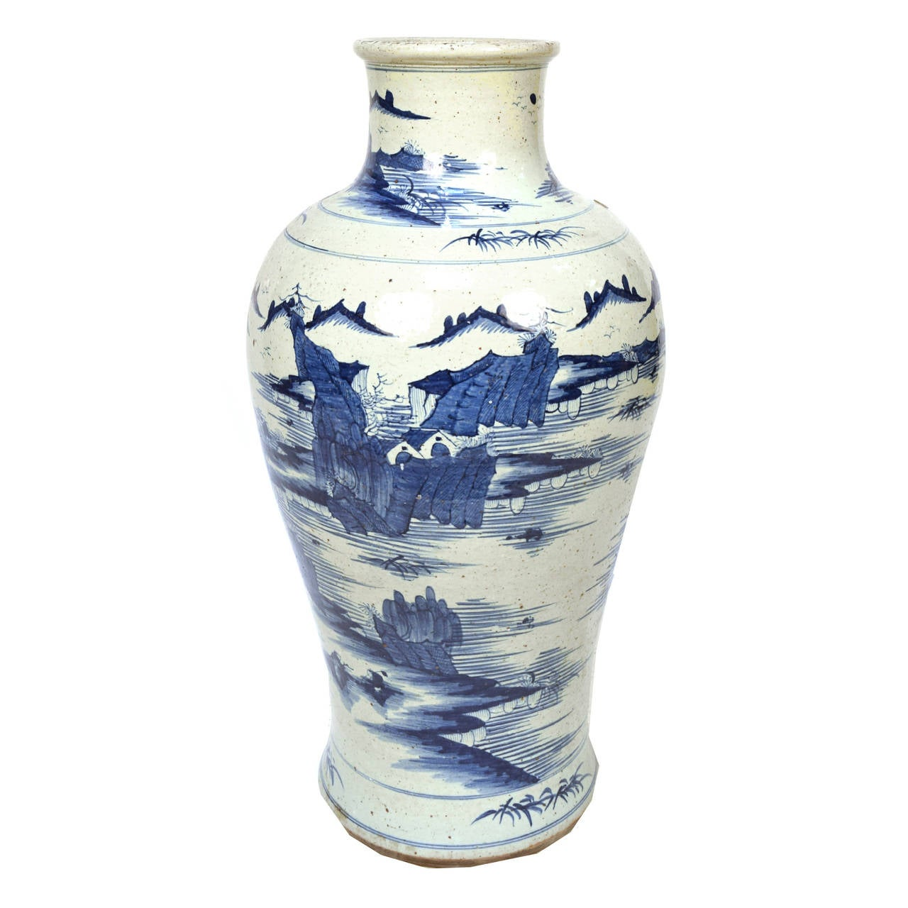 Early 20th Century Chinese Blue and White Shan Shui Vase 2