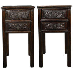 Pair of 19th Century Chinese Tall Square Side Tables with Ruyi Carved Drawers