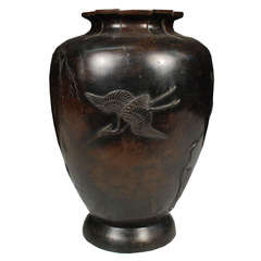 Early 20th Century Japanese Bronze Urn with Cranes