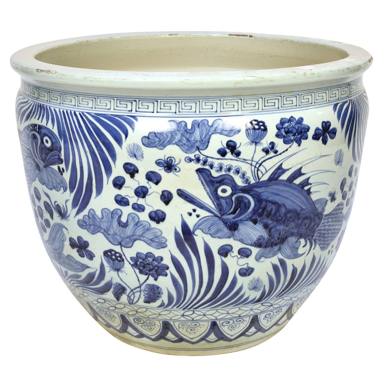 Blue and white chinese fish bowl at 1stdibs for Chinese fish bowl planter