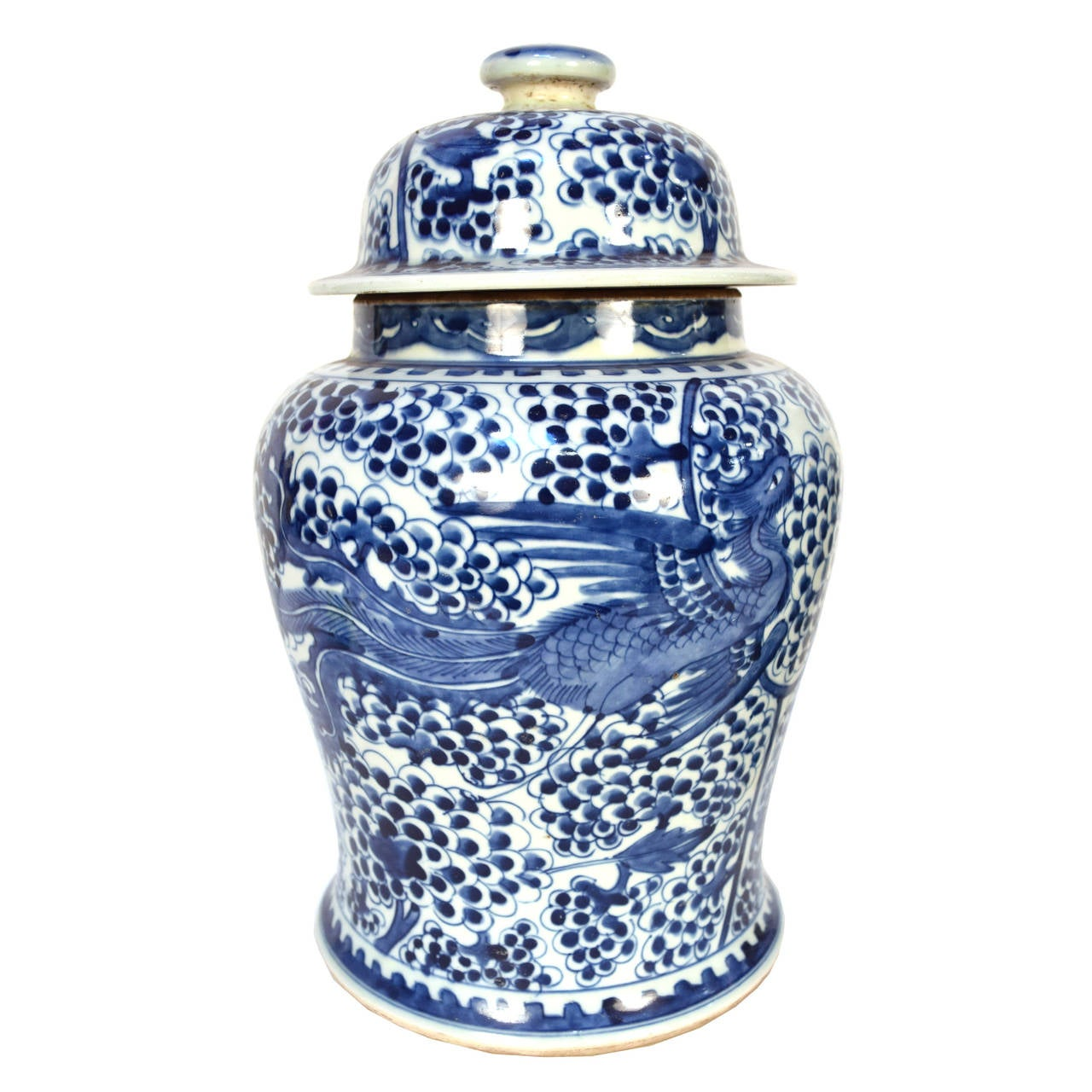 Pair of chinese blue and white phoenix with fruit on the vine ginger jars at 1stdibs - Decorative fruit jars ...