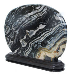 """Flowing Stream,"" Black and White Chinese Meditation Stone"