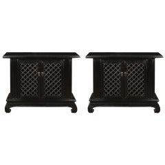 Pair of Early 20th Century Chinese Lattice Front Chests