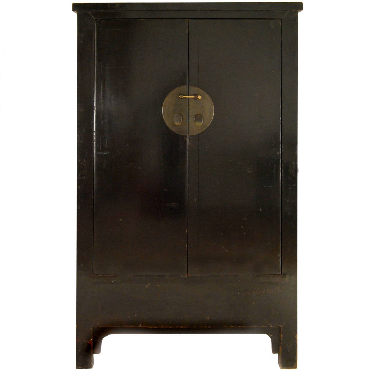 19th century two door chinese black lacquer cabinet at 1stdibs for Black cabinet with doors