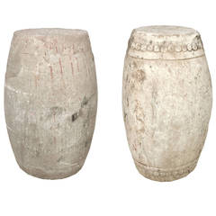 Pair of 19th Century Chinese Limestone Drum Stools
