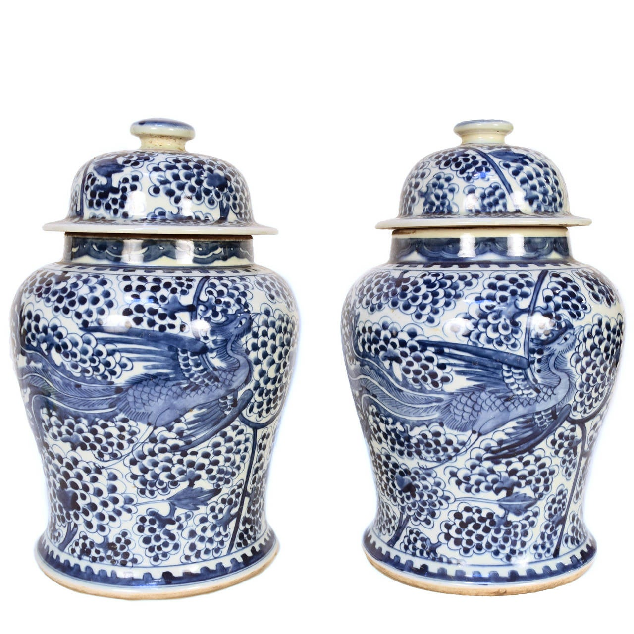 Pair of chinese blue and white phoenix with fruit on the vine ginger jars - Decorative fruit jars ...